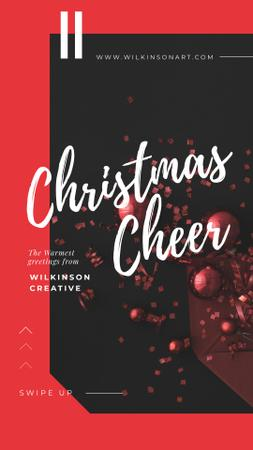 Plantilla de diseño de Christmas Greeting Shiny Decorations in Red Instagram Story