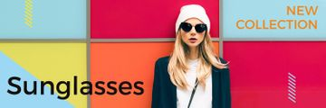 Sunglasses Ad Beautiful Girl on Bright Wall | Twitter Header Template