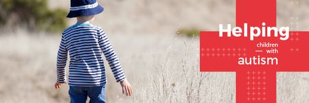 Child Autism Awareness with Adorable Little Kid Outdoors Email headerデザインテンプレート
