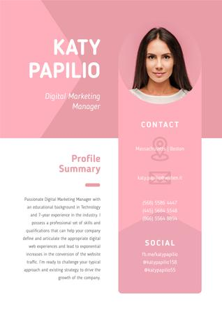 Ontwerpsjabloon van Resume van Professional Marketing Manager profile