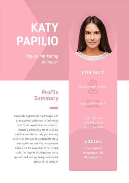 Professional Marketing Manager profile Resumeデザインテンプレート