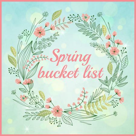 Spring bucket list in Flowers frame Instagram AD Tasarım Şablonu