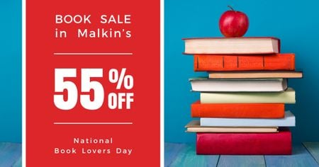 Plantilla de diseño de Sale discount to National Book Lovers Day Facebook AD