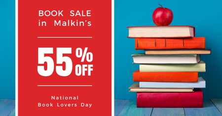 Sale discount to National Book Lovers Day Facebook AD Tasarım Şablonu