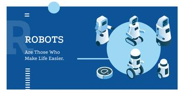 Futuristic Robot Models in Row in Blue | Facebook Ad Template