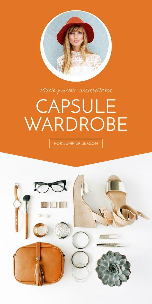 Capsule Wardrobe Flat Lay in Beige Graphic Design Template