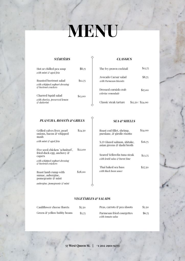 Restaurant tasty meal list Menu Design Template