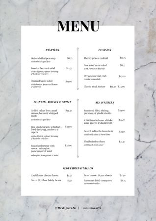 Plantilla de diseño de Restaurant tasty meal list Menu