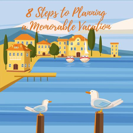 Seagulls at pier in Mediterranean town Animated Post – шаблон для дизайна