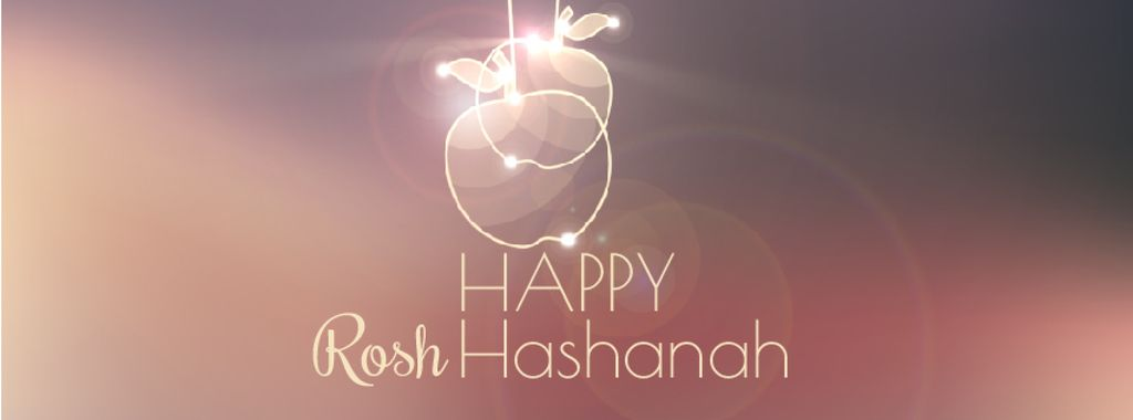 Rosh Hashanah garland with apples — Modelo de projeto