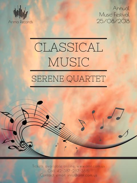 Plantilla de diseño de Classical Music Performance invitation notes on sky Poster US