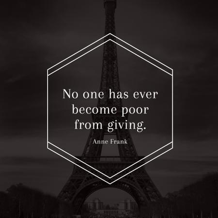 Citation about Charity with Eiffel Tower Instagram – шаблон для дизайна
