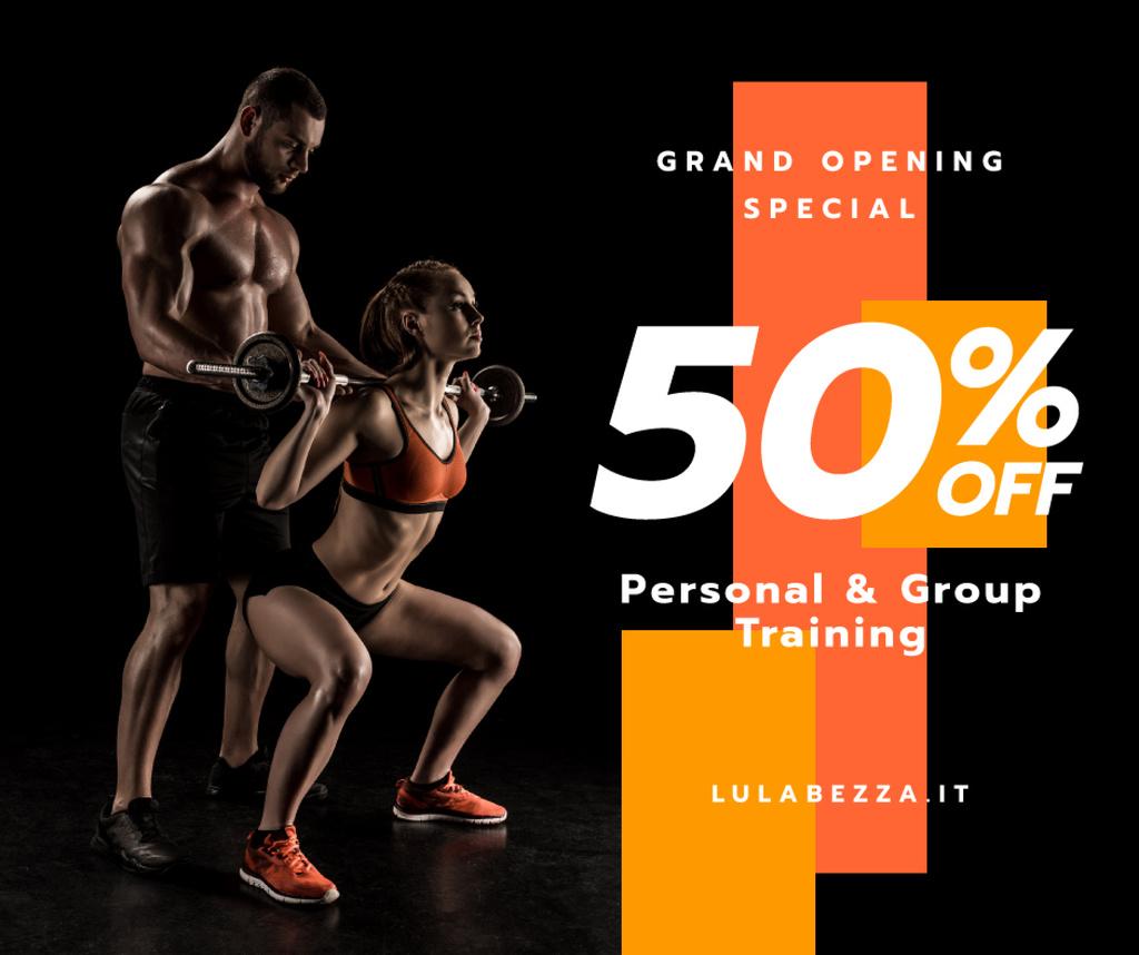 Gym Opening Announcement Girl with Coach — Maak een ontwerp