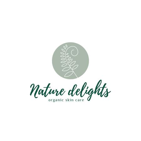 Plantilla de diseño de Skincare Products Ad with Leaf in Circle Logo