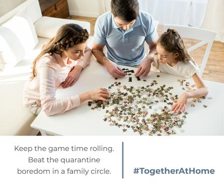 Ontwerpsjabloon van Facebook van #TogetherAtHome Family with daughter playing games