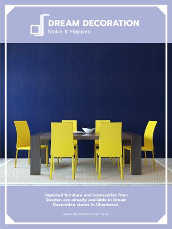 Design Studio Ad Kitchen Table in Yellow and Blue Poster US – шаблон для дизайну