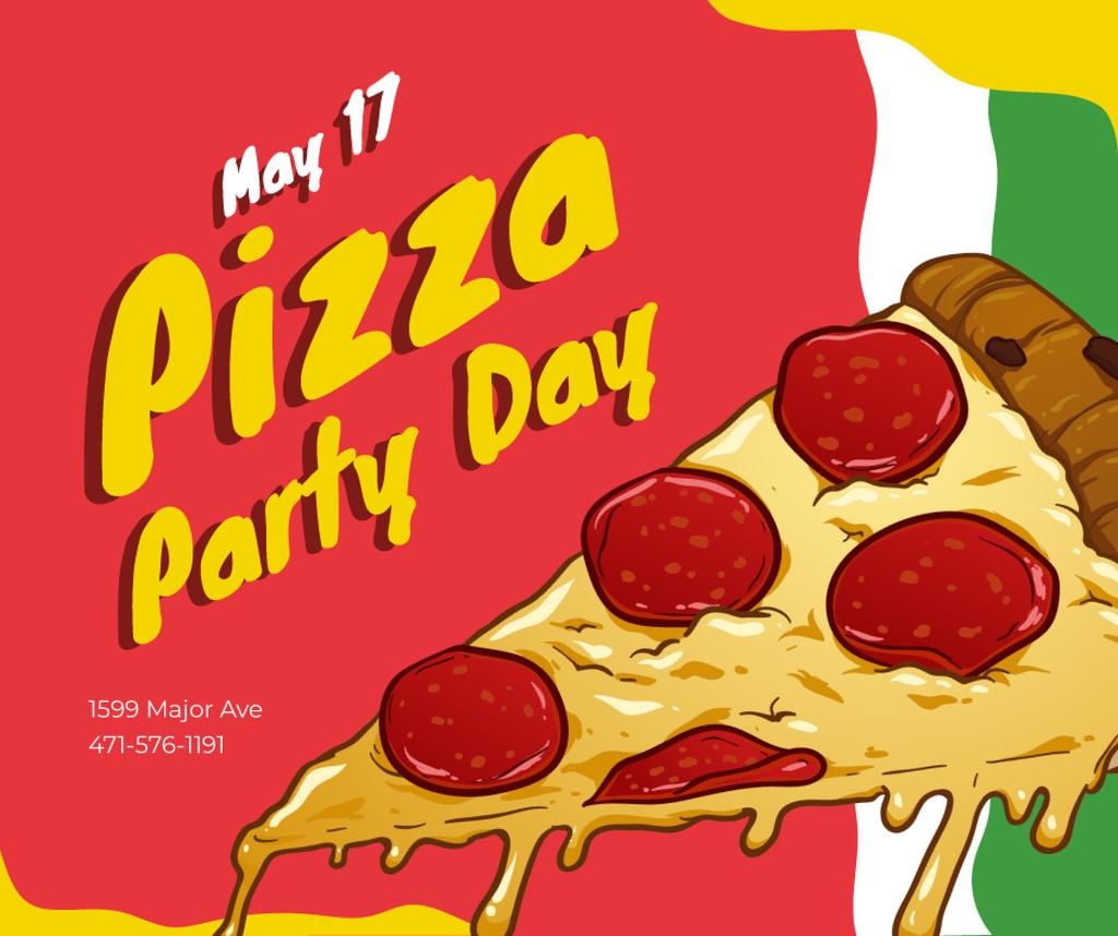 Plantilla de diseño de Pizza Party Day tasty slice Facebook