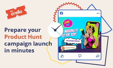 Product Hunt Launch Ad with Girl Taking Selfie on Screen Gallery Image – шаблон для дизайна