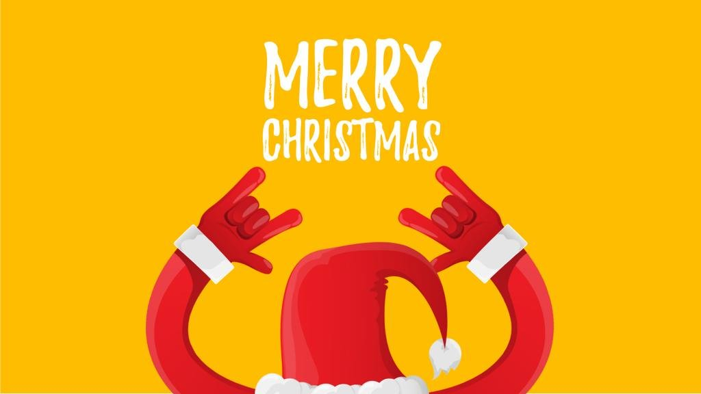 Christmas Greeting Santa Showing Rock Sign | Full Hd Video Template — Créer un visuel