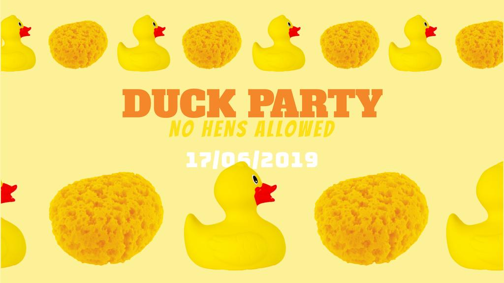 Party Invitation Rubber Ducks and Sponges in Yellow — Maak een ontwerp