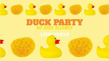 Party Invitation Rubber Ducks and Sponges in Yellow
