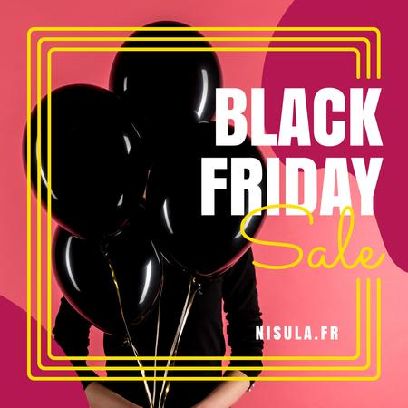 Plantilla de diseño de Black Friday Sale Woman Holding Balloons Instagram