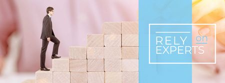 Plantilla de diseño de Businessman walking on wooden blocks Facebook cover