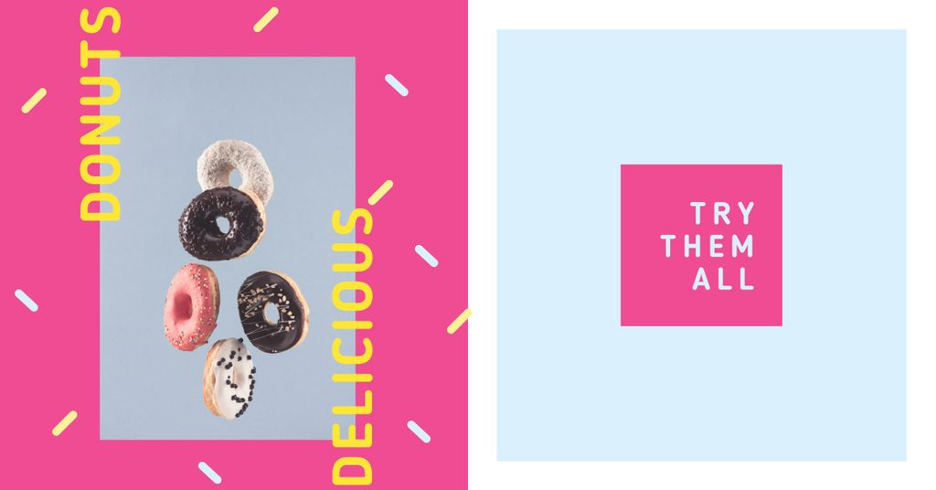 Sweet Glazed Donuts in Pink Frame | Facebook Ad Template — Créer un visuel