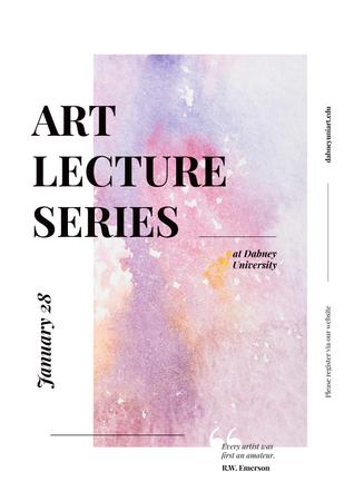 Art Lectures Announcement with Colorful Paint Pattern Poster – шаблон для дизайну