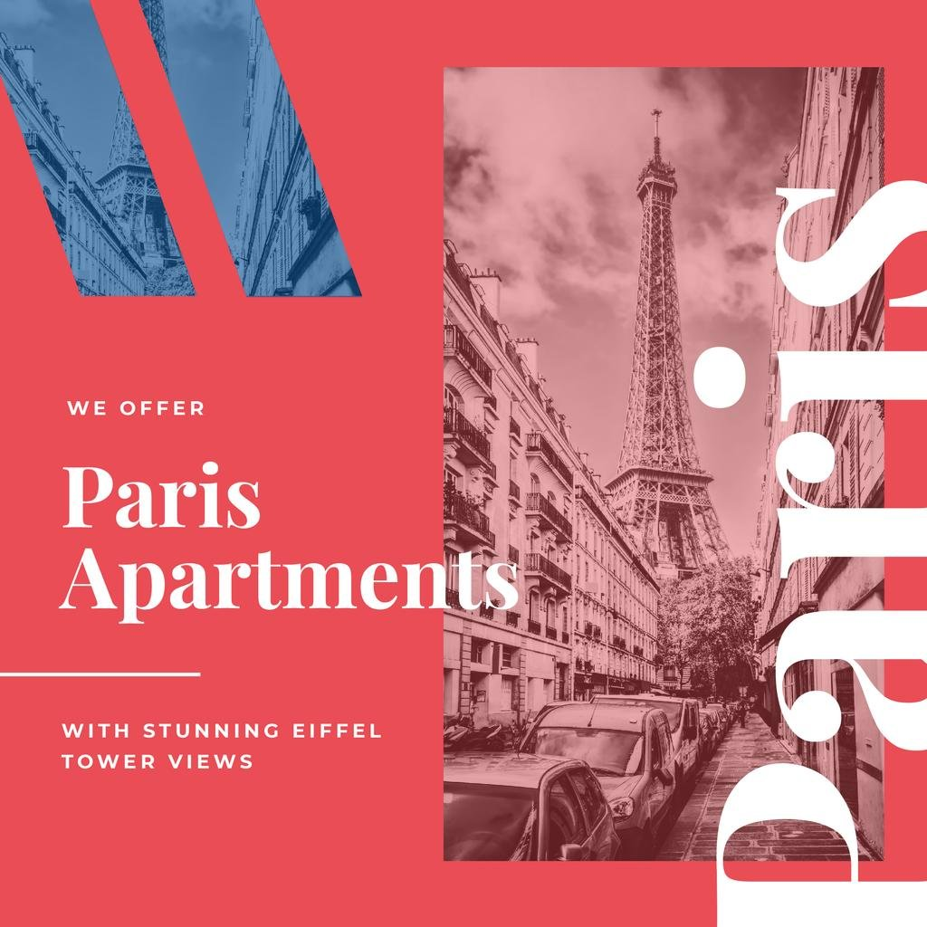 Paris Travelling Attraction Eiffel Tower | Instagram Ad Template — Crear un diseño