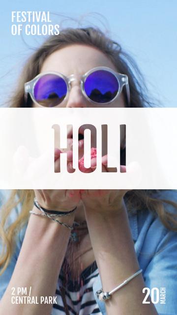 Indian Holi Festival Celebration Girl Blowing Paint Instagram Video Story – шаблон для дизайна