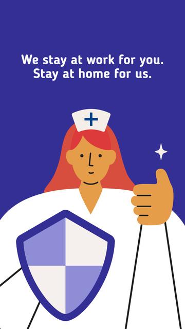 #Stayhome Coronavirus awareness with Supporting Doctor Instagram Story – шаблон для дизайна