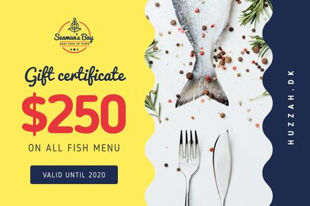 Designvorlage Restaurant Offer with Fish and Spices für Gift Certificate