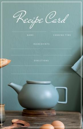 Plantilla de diseño de Teapot on wooden table with Eggs Recipe Card