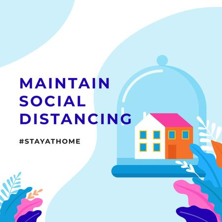 Template di design #StayAtHome Social Distancing concept with Home under Dome Instagram