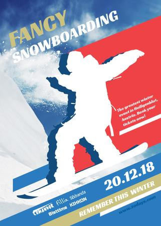 Ontwerpsjabloon van Flayer van Snowboard Event announcement Man riding in Snowy Mountains