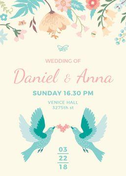 Wedding Invitation Loving Birds and Flowers