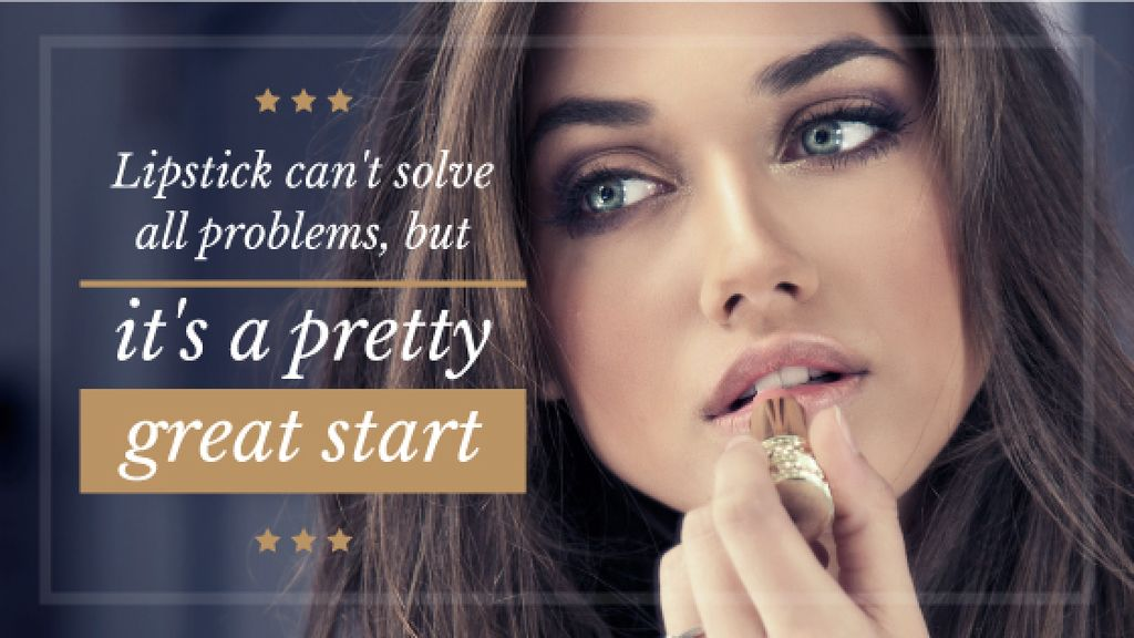 Lipstick Offer with Woman painting lips Title Design Template