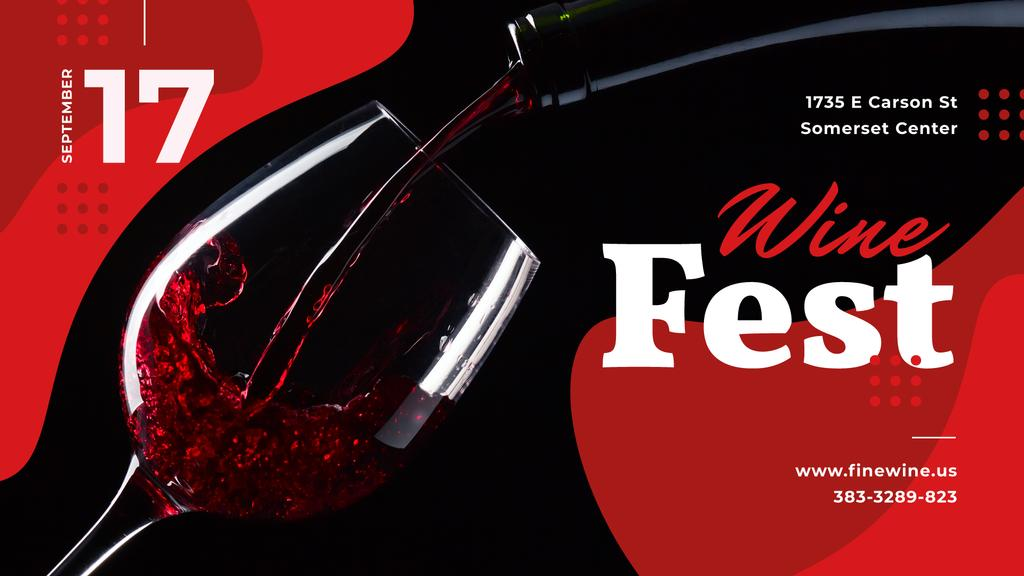 Wine Festival Invitation Pouring Red Wine | Facebook Event Cover Template — Modelo de projeto