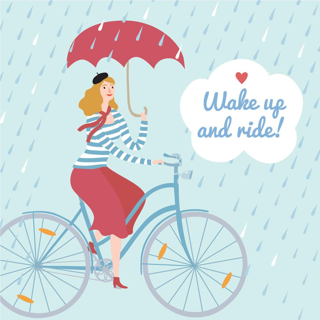 Wake up and ride illustration — ein Design erstellen