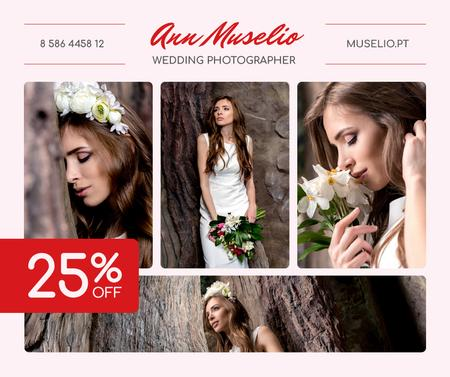Wedding Photography offer Bride in White Dress Facebook Design Template