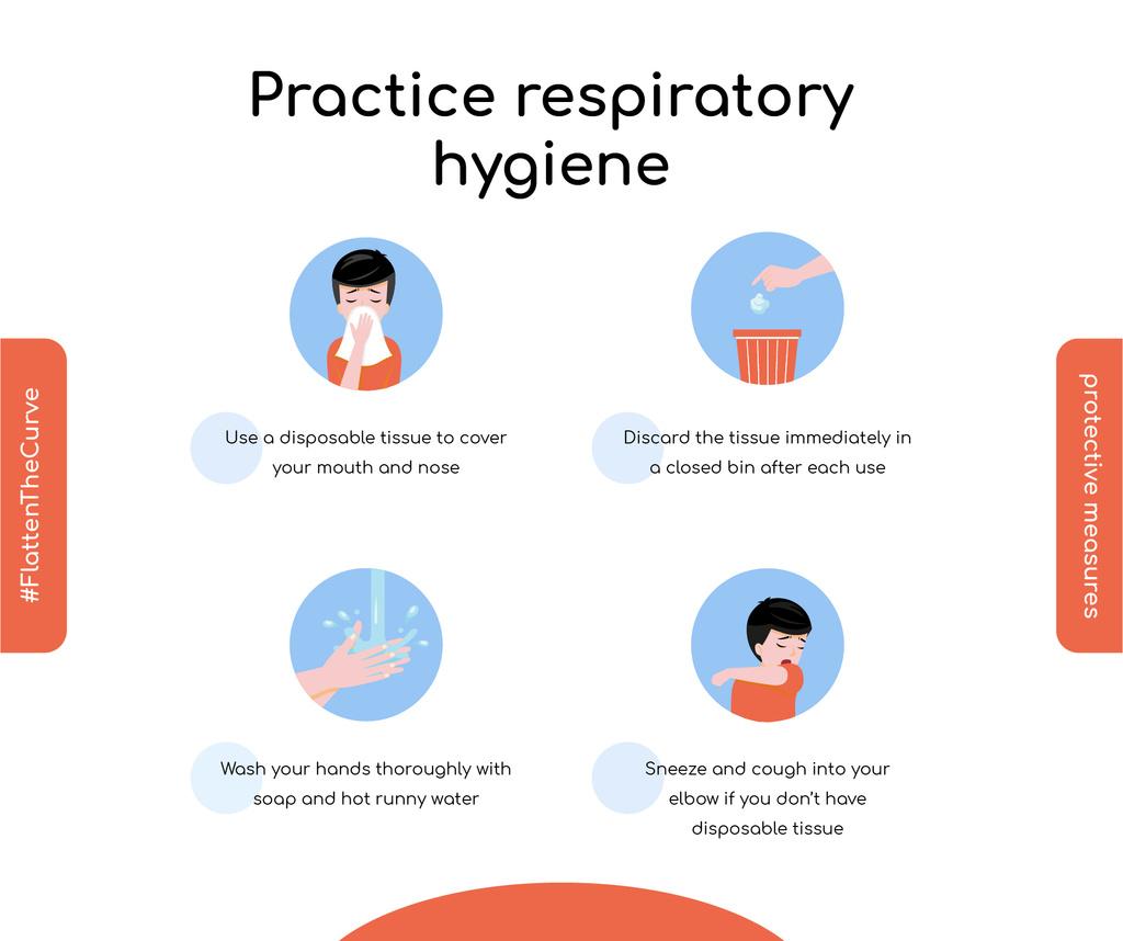 #FlattenTheCurve Disease prevention instruction with Man sneezing — Crear un diseño