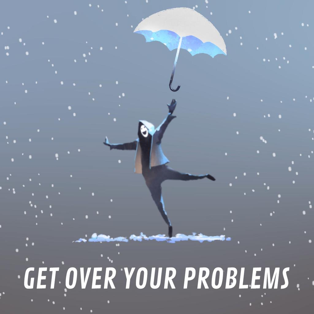 Man jumping with umbrella — Créer un visuel