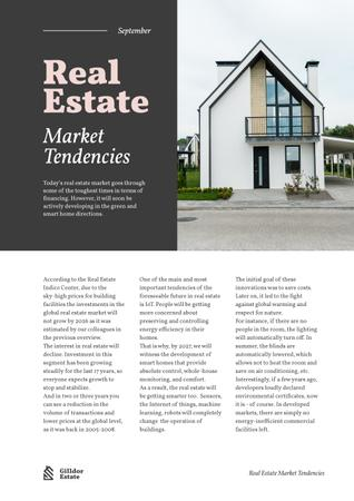 Ontwerpsjabloon van Newsletter van Real Estate Market Tendencies with Modern House