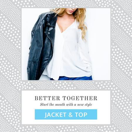 Template di design Fashion Ad with Woman in Shirt and Leather Jacket Animated Post