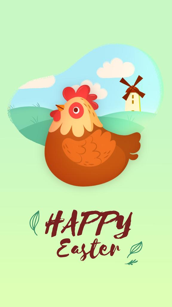 Easter Greeting Hen Laying Egg | Vertical Video Template — Create a Design