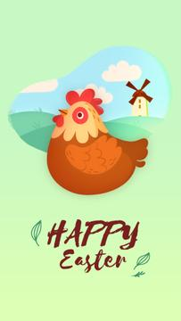 Easter Greeting Hen Laying Egg | Vertical Video Template