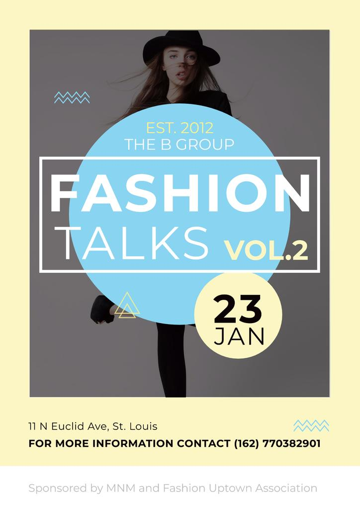 Fashion talks Announcement with Girl in Hat Poster Modelo de Design