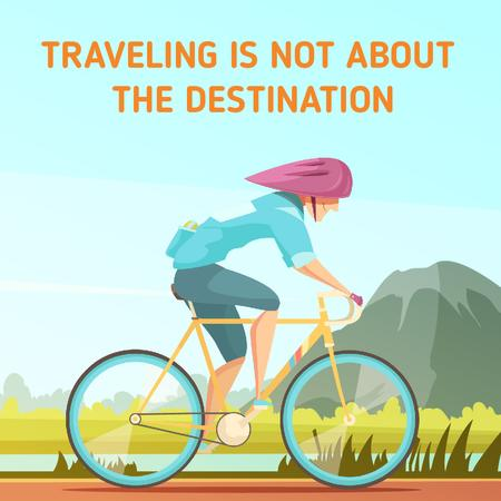 Plantilla de diseño de Traveling Inspiration with Cyclist Riding on Nature Background Animated Post