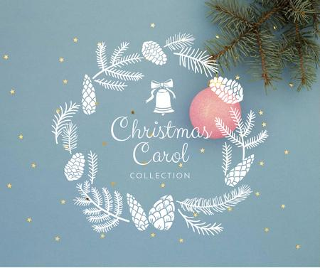 Decorative Christmas wreath in blue Facebook Design Template